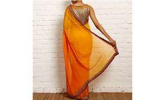 Bright orange saree