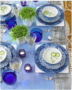 blue cloth, white mat, blue and white dishes, white planters with green leaves, and cucumbers in the soup.Many shades of blue accented with white and green - lovely Pretty tablescape! Blue Table Settings, Beautiful Table Settings, Place Settings, Blue And White China, Love Blue, Blue China, White Dishes, Blue Dishes, Deco Table
