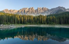 Carezza Lake in the Dolomites of Italy
