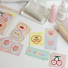 designer(@sosooxlove)• Instagram 相片與影片 Aesthetic Space, Korean Aesthetic, Cute Stationery, Stationery Design, Stationary, Cherry Wine, Artist Alley, Cute School Supplies, Journal Stickers