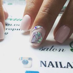 Beautiful nails 2017, Cool nails, Glossy nails, Nails trends 2017, Nails with stones, Painted nail designs, Pale pink nails, Party nails
