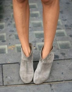 grey ankle bootie with dip at front
