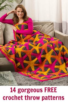 Free ebook. 14 beautiful throws and blankets crochet patterns.