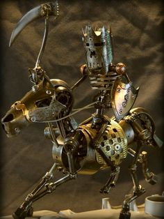 A knight made from scrap metal and found objects.