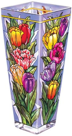 Amia 10-Inch Tall Hand-Painted Glass Vase Featuring a Tulip Design -- Click image for more details. (This is an affiliate link) #Vases