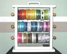 Ribbon storage rack. Cute!