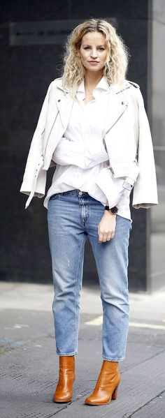 White Leather Jacket Outfit Idea