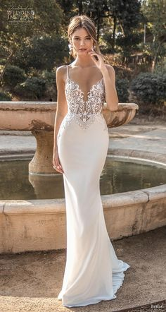 MUSE by Berta 2019 Barcelona Wedding Dresses berta fall 2019 muse bridal spaghetti strap deep sweetheart neckline heavily embellished bodice elegant fit and flare sheath wedding dress backless sweep train 7 mv MUSE by Berta 2019 Barcelona Wedding Dresses Fit And Flare Wedding Dress, Dream Wedding Dresses, Bridal Dresses, Wedding Gowns, Fitted Wedding Dresses, Wedding Dress Sheath, Dresses Dresses, Spagetti Strap Wedding Dress, Wedding Dress Backless