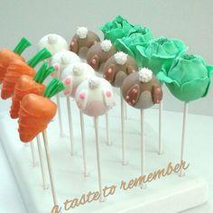 Peter Rabbit inspired baby shower cake pops