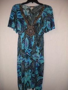 Mon Me Size Large Teal/Black Embellished Watercolors Short Sleeve Juniors Dress…