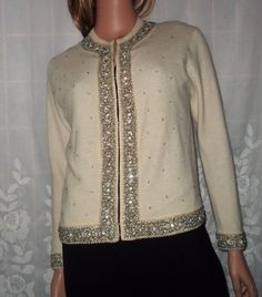 vintage sweater with faux pearls and prong set rhinestones!! and on sale too!