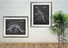 Dinosaur posters, Chalkboard art, Paleontologist gift, Iguanodon Stegosaurus, Chalkboard Print, Paleontology, Dino skeleton,PRINTABLE 11x14 by GBPrintable on Etsy Dinosaur Prints, Dinosaur Posters, Chalkboard Print, Skeleton, Printable, Unique Jewelry, Handmade Gifts, Etsy, Vintage
