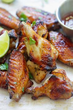 Sweet Thai Chicken Wings - perfectly BBQ chicken wings with sweet Thai seasonings. Crazy delicious wings you can't stop eating | rasamalaysia.com