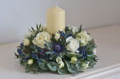 Wedding flowers with candle - table decorations. Red instead of the blue Floral Centerpieces, Wedding Centerpieces, Wedding Table, Floral Arrangements, Wedding Decorations, Table Decorations, Wedding Ideas, Burgundy Wedding Flowers, Winter Wedding Flowers