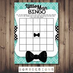 Baby Shower Bingo! Matches my Little Man BOW TIE baby shower invite! Instant PRINTABLEl file on Etsy, $5.00