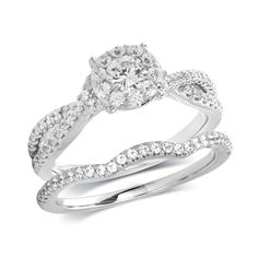 1 CT. T.W. Diamond Twist Shank Bridal Set in 14K White Gold  This. Is. It.