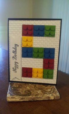 Legos for any age! These easy lego pieces can be created from one square of cardstock, with 4 small circles attached with pop dots. Then arrange them in the shape of the birthday age! Lego Birthday Cards, Birthday Cards For Boys, Bday Cards, Handmade Birthday Cards, Diy Birthday, Birthday Ideas, Legos, Lego Card, Baby Boy Cards