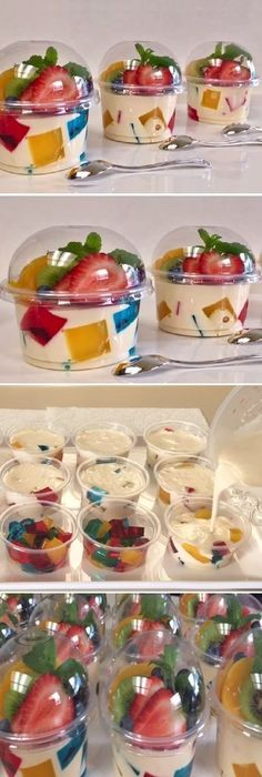 """Individual jellies Mosaic and 3 milks for business or dessert table """"By Creations Prin"""" If you like, tell us HELLO and like LIKE LOOK… - recetas sin hornear - Postres Mexican Food Recipes, Dessert Recipes, Cake Recipes, Sweets Recipe, Dessert Cups, Baking Desserts, Cake Baking, Fruit Recipes, Brunch Recipes"""