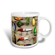 3dRose Old Lures Fishing, Ceramic Mug, 15-ounce