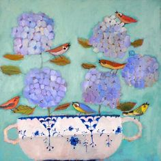 of dogs and cats and flowers and birds: the whimsical beauty of vanessa cooper's paintings – Jama's Alphabet Soup Art Floral, Art Fantaisiste, Illustrations, Illustration Art, Paintings I Love, Happy Paintings, Still Life Art, Naive Art, Whimsical Art