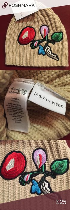 NWT TABITHA WEBB Embroidered Beanie Cap💋 NWT TABITHA WEBB Embroidered Beanie Cap💋  Awesome Floral Embroidered Beanie Cap Hat from Tabitha Webb! 70% Acrylic 30% Wool. One Size Fits Most. Cream Oatmeal color w/ floral design. New With Tags.   Pet & Smoke Free Home. Happy Poshing💁💕 Tabitha Webb Accessories Hats