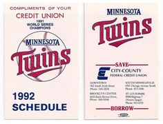 1992 Minnesota Twins Schedule City County Credit Union Puckett Hrbek era