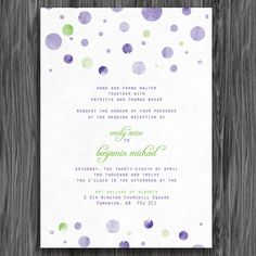 Wedding Invite  Purple and Green Polka Dots by doodledewdesigns, $10.00