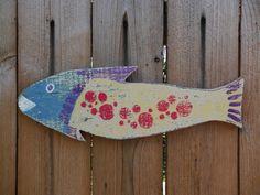 Painted Wooden Folk Art Polka Dot Fish