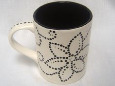 Ceramic Mug Hand Painted Black and White Flowers, Swirls, Dots on Etsy, $16.50
