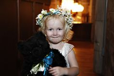My gorgeous flower girl!! My aunt made the wreath of flowers last minute and are so swedish! We couldn't throw flower petals in the church so she held a teddy bear with flowers attached to a ribbon around its neck!!!