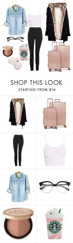 """BEHRING THE DORMINTORY"" by reka15 on Polyvore featuring Pull&Bear, CalPak, Topshop, BasicGrey and Too Faced Cosmetics"