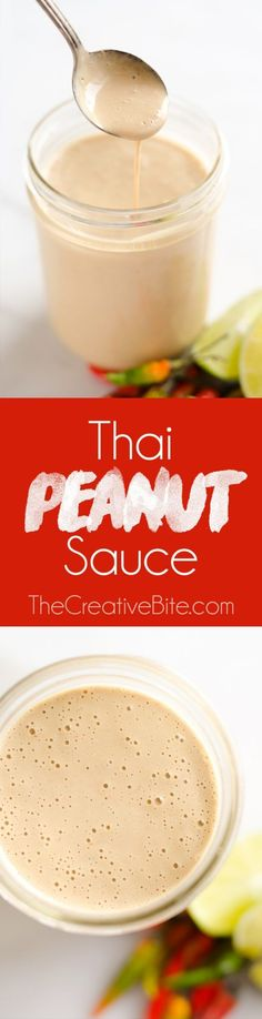 Thai Peanut Sauce is a quick sauce that is bursting with rich and spicy flavors. It is perfect on chicken or your favorite salad to kick up your meal a notch. #ThaiPeanut