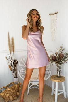 Anika Satin Dress - Pink | Divine summer silk look slip dress perfect for your special date! #dresses #summer