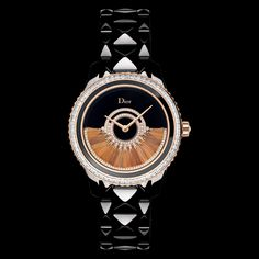 """Dior VIII Grand Bal """"Plume"""" model, 38mm, automatic movement """"Dior Inversé 11 ½"""" calibre, oscillating weight in pink gold decorated with fawn-coloured feathers and set with diamonds, black ceramic and pink gold case and bracelet, bezel set with baguette-cut diamonds and a black ceramic ring, crown set with a rose-cut diamond, black mother-of-pearl dial, anti-reflective sapphire crystal glass, black translucent case-back. Limited edition of 88 pieces. Discover more on www.dior.com"""