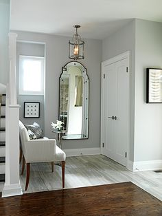 Sarah Richardson Entry #entry #gray #wood #white #chandelier #bench #wash #closet