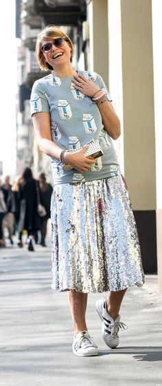 Milan Fashion Week street style: Silver skirt and Adidas #flatlay#flatlays #flatlayapp www.theflatlay.com