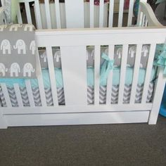 Made to Order- 4pc gray and white elephant with aqua accents crib bedding set. $349.00, via Etsy.