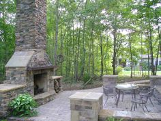 Out door fireplace & patio