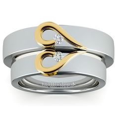Matching Curled Heart Diamond Wedding Ring Set in White and Yellow Gold