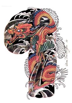 Chinese Dragon Or Japan Dragon Cant Tell The Difference Celtic Tattoos For Men, Japanese Tattoos For Men, Traditional Japanese Tattoos, Japanese Tattoo Designs, Japanese Tattoo Art, Japanese Sleeve Tattoos, Japan Tattoo Design, Tattoo Design Drawings, Dragon Tattoo Designs
