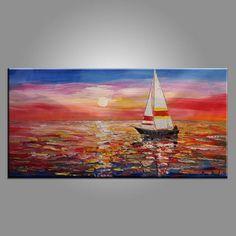 Vela barca pittura, pittura astratta, tela, grande arte, opere d'arte originali, arte della parete, grande dipinto, olio su tela, pittura di paesaggio marino