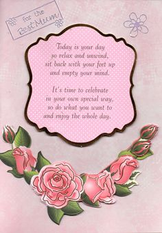 Pink roses handmade card featuring the message 'for the Best Mum' along with a verse about celebrating your special day.