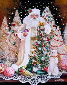 Old Fashioned Vintage Inspired Father Christmas Shabby Chic Diamond Painting Kit. Round Drills Full Drill Fast S&H by OurCraftAddictions Christmas Scenes, Victorian Christmas, Father Christmas, Vintage Christmas Cards, Pink Christmas, Santa Christmas, Christmas Pictures, All Things Christmas, Winter Christmas