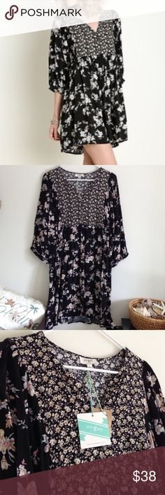"SHORT SALE  Black Floral Peasant Dress Brand new with tag. Lightweight. Buttons. B-neckline. 3/4 sleeves. Black, tan, white and cream. 65% cotton 35% polyester Measurement laying flat: bust: 20"" length: 34/35.5"" (38) Umgee Dresses Midi"