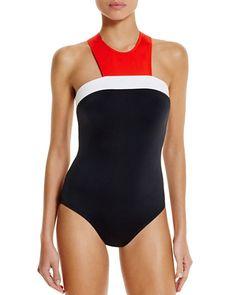 Carmen Marc Valvo High Neck Red White Black Zip One Piece Swimsuit 12 NWT $121 755448225002   eBay
