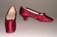 """Evening Shoes: ca. 1850's, British, silk, leather. Marking: [label] """"Henry Marshall, London"""""""