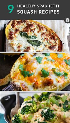 It's fall, which means trying out new roasted goard recipes. We love to substitute spaghetti squash for pasta. Try these 9 Mouthwatering Spaghetti Squash Recipes Clean Recipes, Vegetarian Recipes, Healthy Recipes, Delicious Recipes, Healthy Cooking, Healthy Eating, Cooking Recipes, Healthy Food, Think Food