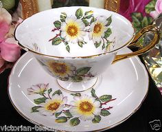 SHELLEY TEA CUP AND SAUCER GAINSBOROUGH SHAPE BLOSSOMS PATTERN TEACUP