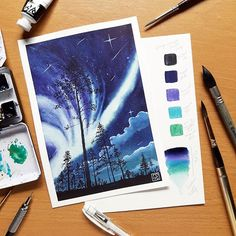Watercolor Galaxy Study. I am doing an Aurora Borealis. Mixing colors Neutral tint, Royal Blue, Permanent Violet Turquoise Blue, and mix of permanent yellow and turquoise blue for the negative space. I used ShinHan Art PWC paint from @artwhale.ph  #auroraborealis