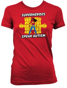 Autism Superhero Shirt Children Gifts Autism T Shirt Autism Awareness Month TShirt Superheroes Speak Autism Bodysuit Boys Girls Tee FAT-706